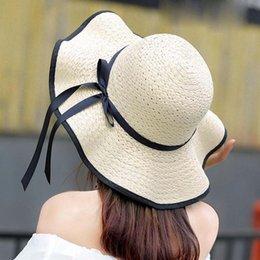 $enCountryForm.capitalKeyWord NZ - Fashionable Design Women Summer Round Flat Top Straw Beach Hat Sunscreen Hat Ribbon
