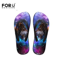 Discount leather sandals for ladies - FORUDESIGNS 3D Universe Galaxy Wolf Horse Pattern Slippers for Ladies Girls Light Summer Beach Flip Flops Women's C