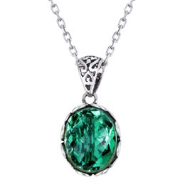 pendant oval Australia - Wholesale 925 Sterling Silver Oval Green Crystal Pendant Retro Necklace Silver Link Chain Women Fashion Jewelry