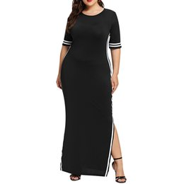 $enCountryForm.capitalKeyWord UK - Plus L-xxxxxl Size Colors Women Fashion Long Dress Casual Slim Stripe Split Half Sleeve Elegant Woman Bodycon Dresses designer clothes