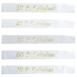 Black White Birthday Party Decorations Australia - White Birthday Sash Gold Glitter Writing 30 40 50 60 70 and Fabulous Sash for 30th 40th 50th 60th 70th Birthday Party Decoration