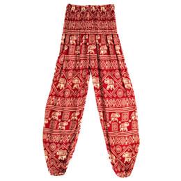 $enCountryForm.capitalKeyWord Australia - New Outdoor Yoga Pants Printed Loose Thin Lantern Pants Thailand Elephant Series Black Red High Waist Pant with Pocket Free Size