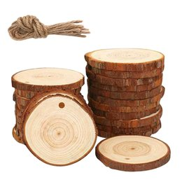 art crafts for christmas Canada - 50Pcs Natural Wood Slices Craft Wood Kit Unfinished Predrilled with Hole Wooden Circles Great for Arts and Crafts Christmas Orna