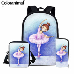 Discount shoes black zipper for men - Coloranimal Kids Ballet Shoe Print School Bag Teenager Girl Backpack Dancer Set Shoulder Bagpack for Kids Child Bookbag