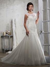 c3a010d8a Grace Ivory Tulle Joya Apliques Sirena Vestidos de novia Vestidos nupciales  Vestidos de boda Vestidos Tamaño personalizado 2-18 KF1219212