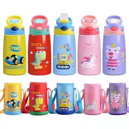 Drinking straw cartoon online shopping - NEW Cartoon Children Sippy Cup Insulated Water bottle with straw lid ml Stainless Steel Kids bottle Portable Drinking Cup for kids