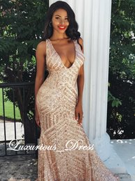 $enCountryForm.capitalKeyWord Australia - African Sparkly V-Neck Mermaid Backless Sequins Gold Prom Dresses 2019 Sleeveless Sexy Black Girl Evening Dresses Party Gowns robe de soiree