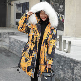 Discount thick winter coat hoodie jacket women Winter Jacket Female Parkas Colorful Print Fashion Down Jackets Long Big Fur Hoodie Down Thick Long Coats Jackets Women