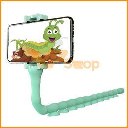 $enCountryForm.capitalKeyWord Australia - Cute Worm Lazy Phone Holder Stand Caterpillar Suction Cup Mobile Phone Bracket Mount support Wall Desktop Pillar Cellphone Holder