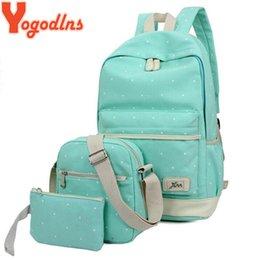 $enCountryForm.capitalKeyWord NZ - Yogodlns 3pcs set Casual Women Backpack Canvas Book Bags Preppy Style School Back Bags For Teenage Girls Composite Bag Y19061102