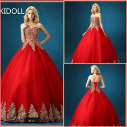 $enCountryForm.capitalKeyWord Australia - 2019 romantic style ball gown gold lace appliques red wedding dress strapless sweetheart neck princess puffy corset wedding gowns hot sale