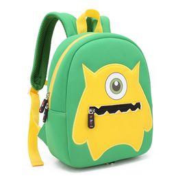 $enCountryForm.capitalKeyWord Australia - Children School Backpack Cartoon One-eyed Monster Waterproof Neoprene Fabric For Toddler Boys Kindergarten Kids School Bag