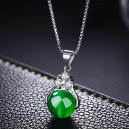 Necklaces Pendants Australia - Pure white copper plated white gold necklace Agate pendant transfer beads natural crystal pendant female gems green chalcedony