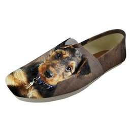 Best Canvas Prints UK - Best seller Fashion 2019 Ladies Loafers Comfortable Light Female Lazy Sip on Flat Women Flats Shoes Airedale Terrier Print Shoes