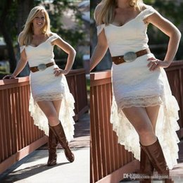 cowgirl dresses UK - Off The Shoulder Lace High Low Country Wedding Dresses Without Sash 2018 Cheap Short Front Long Back cowgirl Bridal Gowns Casual