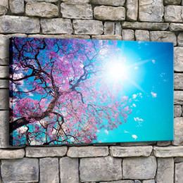 $enCountryForm.capitalKeyWord Australia - Canvas Printed Painting Wall Art 1 Piece Cherry Blossom Blue Sky Sun Leaves Pink Trees Picture For Living Room Poster Home Decor