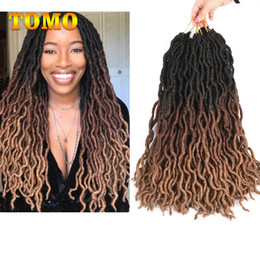 kanekalon braiding hair wholesale Canada - TOMO Goddess Faux Locs Crochet Braids Black Brown Blonde Kanekalon Ombre Synthetic Braiding Hair Extensions For Black Woman 24Roots pack