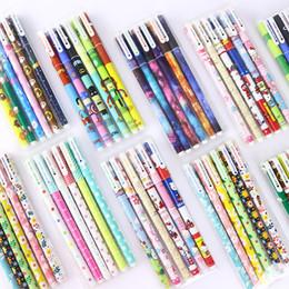 $enCountryForm.capitalKeyWord NZ - 6Pcs Cute School Ink Gel Pen Stationery Set Supplies Kawaii Colored Black Ink Gel Pen for Girls Painting Signing