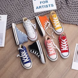 spring autumn child canvas shoes Australia - Spring Autumn High Top Sneakers Girl Child Shoes 13 Colors Toddler Boy Sneakers Baby Kids Canvas Star Sneakers Shoes For Kids CJ191219