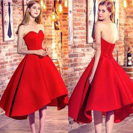 $enCountryForm.capitalKeyWord Australia - Hi-Lo Red Prom Dresses Short Sweetheart Lace Up Back Tea-Length Satin Homecoming Dresses Vestidos De Festa Cheap Customized