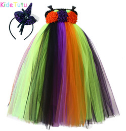 cosplay costumes black dress NZ - Halloween Kid Witch Cosplay Costume Black Purple Orange Ankle Length Girls Tutu Dress Children Birthday Holiday Carnival Clothes SH190908