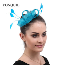 hats gray hair Australia - Party tea turquoise sinamay wedding fascinators headwear hats hair clips women ladies elegant bridal occasion hair accessories free ship