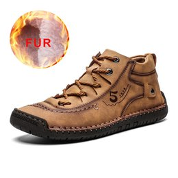waterproof men shoe Canada - 2019 Men Shoes Leather Winter Shoes Men Warm Comfortable Mans Footwear Fur Waterproof Ankle Boots Men Lace-up Shoes Big Size LY191217