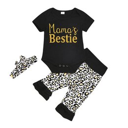 infant leopard print UK - Ins 2020 new Summer leopard print baby girls suits Infant Outfits short sleeve romper+pants+headbands 3pcs set baby girl clothes B1054
