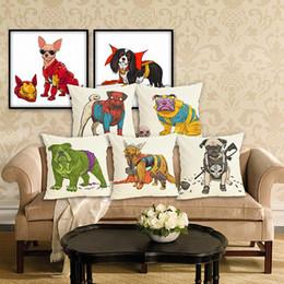 Black Office Chairs Australia - 45cm Cool Cartoon Dog Cotton Linen Fabric Throw Pillow 18inch Fashion Hotal Office Bedroom Decorate Sofa Chair Cushion