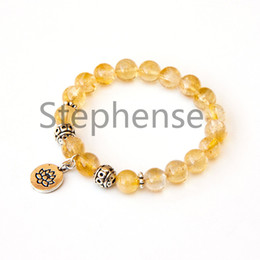 crystal citrine gemstone NZ - MG0653 2A Grade Citrine Lotus Bracelet Natural Yellow Crystal Gemstone Chakra Lotus Charm Yoga Bracelet New Design Balance Mala Bracelet