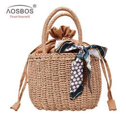 $enCountryForm.capitalKeyWord NZ - Aosbos Women Straw Handbag Summer Beach Tote Bag Rattan Woven Handmade Knitted Bag Ladies Leather Messenger for Female