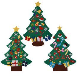 Family tree decor online shopping - Family Kids DIY Large Christmas Felt Tree Decor With Colorful Pendants