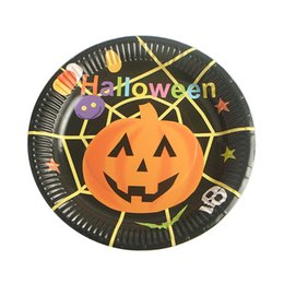 Halloween Party Plates Australia - 10pcs set Paper Party RFID Blocking Dishes Pumpkin Cartoon Witch Halloween Table Decoration Plates Tableware Disposable