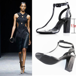 $enCountryForm.capitalKeyWord Australia - Hot Sale-PVC Sandals Women T-strap Block High Heels Gladiator Ankle Strap Sandles Runway Show Shoes Women Summer