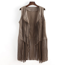 Ethnic vEst online shopping - New Cool Women Vest Coat Sleeveless Autumn Winter Suede Ethnic Sleeveless Tassels Fringed Vest Cardigan Clothing Outwear