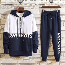 $enCountryForm.capitalKeyWord Australia - Spring Autumn 2pcs Mens Tracksuit Track Suits Casual Full Long Sleeves Letter Hooded Tracksuit + Pant Men's Sets