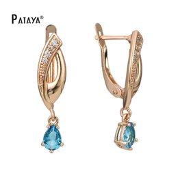 PATAYA New 585 Rose Gold Water Drop Earrings Light Blue Zircon Natural Jewelry Women Long Dangle Earrings Wedding Jewelry on Sale