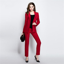 Bussiness Suits Australia - Slim Fit Formal Ladies Office Wear Suit Office Uniform Designs Women Evening Bussiness Trouser Suits Blazer Pants Suits