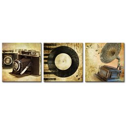 art three panels UK - 3 Panels Canvas Wall Art Vintage Cameras Phonograph Painting Picture Prints Artworks for Living Room Decor Stretched Framed Art