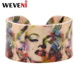 marilyn monroe jewelry UK - WEVENI Acrylic Design Sexy Marilyn Monroe Printing Love Wide Bracelets Bangles Jewelry For Women New Charm Manchette Bijoux