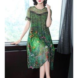 $enCountryForm.capitalKeyWord Australia - Vintage Peacock Green Silk Dress Floral Print Summer Dresses Plus Size M-3xl Gown Lace Stitching Short Sleeve Robes