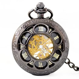 Hollow Watches Men Australia - Full Metal Pocket Watch Men Women Vintage Retro Necklace Pendant Fob Watch Carved Chain Clock Hollow Mechanical Pocket Watches