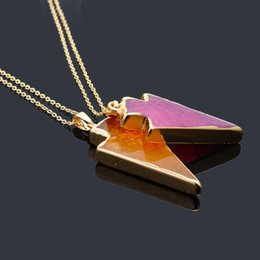 natural agate gemstone pendants Australia - Natural Stone Crystal Quartz Healing Point Chakra Gemstone Triangle Pendant Necklaces Agate Amethyst Colorful Chain Jewelry Free Ship DHL