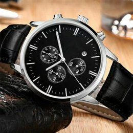 Work Watch Australia - All Subdials Working Chronograph Luxury Watch Men Iced Out Watches Leather Strap Quartz Wristwatch C for Men gift relojes free shipping
