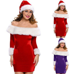 christmas costumes adult women NZ - Red Christmas Costume Santa Sweetie Adult Women Velvet Off-shoulder Long Sleeve Bodycon Mini Dress With White Furzzy Trim (Without Hat)