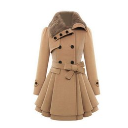 $enCountryForm.capitalKeyWord Australia - Double-breasted Woolen Coat Women Winter Faux Fur Collar Thicken Warm Overcoat Fashion Elegant Office Lady Slim Outerwear