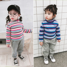 $enCountryForm.capitalKeyWord NZ - 2019 Winter New Arrival korean style Rainbow Fashion High Collar And Velvet all-match bottoming T-shirt for cute sweet baby girl