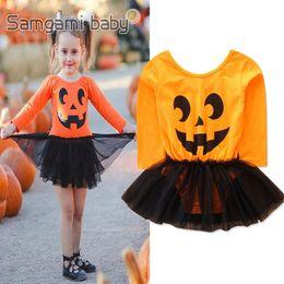 Devil clothing online shopping - Kids Baby Cartoon Jumpsuit Halloween Theme Pumpkin Devil Mesh Dress Kids Designer Clothes Girls Bodysuit Baby Girls Long Sleeve Onesies
