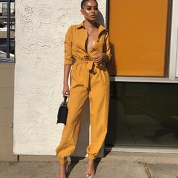 Womens Jumpsuits Arrivals Australia - Women Spring Autumn Fashion Jumpsuits 2019 New Arrival Womens V-neck with Button Belt Full Length Pants Jumpsuits Women Casual Rompers