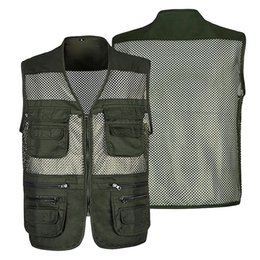$enCountryForm.capitalKeyWord Australia - Summer Mesh Shooting Men Overalls Vest Male Casual Breathable Sleeveless Jacket Mens Multi Pocket Reporter Outdoor Waistcoat